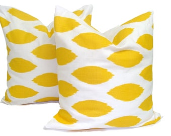 YELLOW PILLOWS SET of Two.20x20, 18x18 or 16x16 inch.Decorative Pillow Cover.Home Decor.Yellow Pillows.Cushions.Yellow Decor.Yellow.Ikat