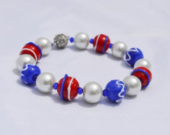 Red White and Blue Beaded Bangle Bracelet Chunky Lampwork Beads, Faux Pearls, 4th of July, Ladies Jewelry Summer Gifts