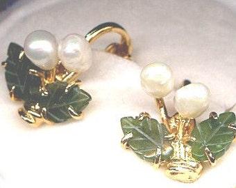 Fresh Water Pearl and Jade Clip Earrings  Small  Item: 14281