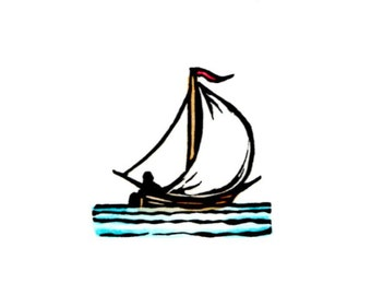 Original Linocut of a Sailboat by Ken Swanson (1446)