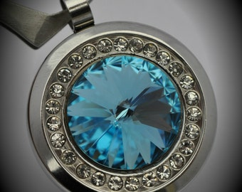 UNIQUE Stainless Steel Round Pendant With Clear Cubic Zirconia and Aquamarine Swarovski Crystal