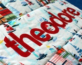 RESERVE LISTING - Personalized Patchwork Baby Quilt - theodore - sailboats and madras
