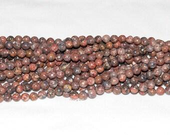 """Leopard Skin Jasper 6mm Round Gemstone Beads - 16"""" Strand"""