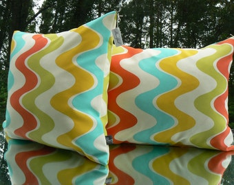Pillow 45, Outdoor Pillow, Wavy Lines