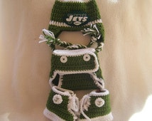 Crocheted Jets Hat, Diaper Cover & Booties Set These Are Made to Order