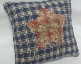 Homespun Star Primitive Mini Shelf Pillow