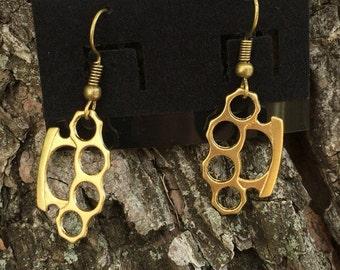 Mini brass knuckes earrings
