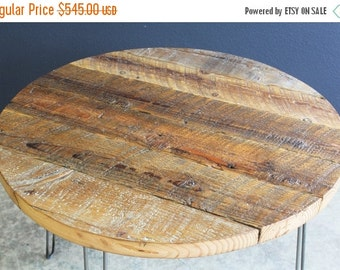 """Last Chance Sale 10% OFF. 48"""" Round Antique Barnwood Coffee Table with Hairpin Legs"""
