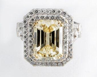 3.00 Carat GIA Certified Fancy Yellow Emerald Cut Halo Diamond Engagement Ring