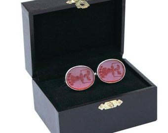 Family Crest Cufflinks Red Agate Engraved Sterling Silver 925