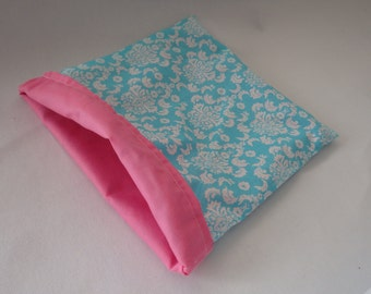 SALE Blue and White Damask Cotton with Pink Cotton Snuggle Bag