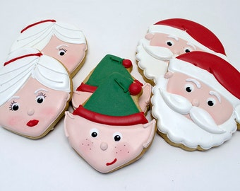 Decorated Cookies for Christmas - Santa Claus - Mrs Claus - Elf - 1 dozen