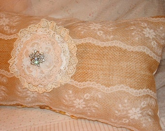 Pretty Burlap and Lace Pillow~Cottage Rustic Romantic Farmhouse - Shabby Chic - Lace Flower - Vintage Rhinestone Pin - Buttons