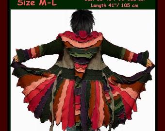 Sweater coat, Elf coat, eLF sWEATER, size M, size L, fairy dress, women hoodie, cardigan, patchwork , OOAK, dream coat, boho dress, gypsy