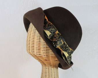 Chocolate Cloche Hat in Velour Felt ~ Lady Mary ~ 20s, Downton Abbey, rain hat, ribbon ~ handmade by Bonnet, your local Portland millinery