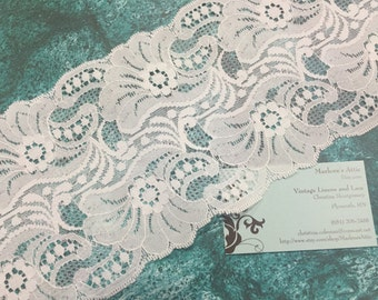1 yard of 5 1/2 inch White galloon chantilly lace trim for bridal, garter, wedding supplies, couture by MarlenesAttic - Item 8Z