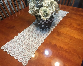 Vintage Ivory lace table runner for christmas, holiday, housewares, home decor, valentines by MarlenesAttic