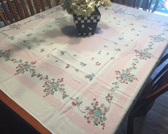 Vintage White with Pink Floral Printed Kitchen Dining Luncheon Table Cloth for housewares, home decor, linens by MarlenesAttic