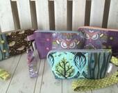 Turnabout Pouch,Vinyl accent zipper pouch,wristlet,Handmade pouch