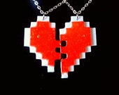 Player 1 and 2 Pixel Heart Friendship Necklace