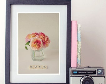 flower photography, photo print, stilllife photo - whimsical fine art photography, flower, rose, scrabble art, vintage, wall art, home decor