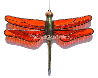 Stained Glass DRAGONFLY Suncatcher, Orange Tangerine Wings , Textured , Hand-Cast Metal Body , USA Hand-Made, Orange Dragonfly, Tangerine
