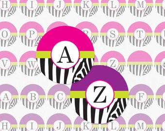 ZEBRA ALPHABET - Pink and Purple Accented 1 Inch Circle Digital Collage Sheet For Bottle Cap Pendants and More ( Instant Download No. 703)