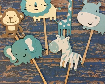 Safari Cupcake Toppers- Blues Safari Toppers- It's a boy- baby shower toppers- shower theme- boy safari- jungle baby shower