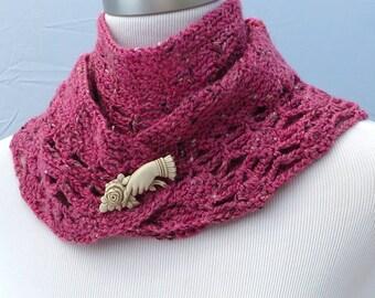 Hand crochet pink tweed shawl