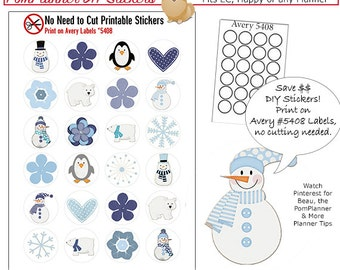Winter Printable Planner Stickers, Print On Avery Label 5408 or .75 Punch. No-Cut-Needed, Snowmen, Penguin, Blue, Frozen