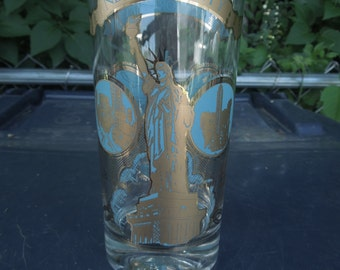 Vintage New York City Glass Drinking Gold Blue Souvenir Times Square Empire State Building Statue of Liberty