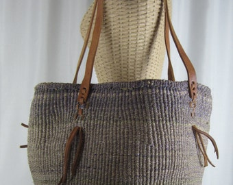 Large Vintage Jute and Leather Woven Bag - Ethnic Market Bag - Boho Style Shoulder Tote - Purple Natural - Brown Leather Handles