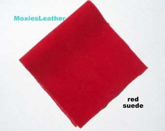 red suede - soft suede leather - 6 inches by 12 inches or 15 x 30 cm - fire red suede