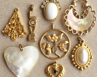 gold tone metal and pearly white eco friendly vintage charms/pendants for creating assemblages and ooak jewelry--mixed lo of 8 item