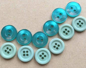 nos shiny teal blue and matte sea foam green contrasting colors sewing buttons//scrapbooking jewelry making button art--mixed lot of 12