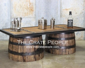 Repurposed Up Cycled Whiskey Barrel COFFEE Table || 100+ Yr Old Barn Wood