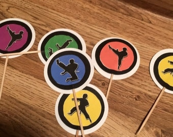 Karate cupcake toppers
