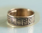 Custom Rune Ring in Golden Bronze - Anglo Saxon Futhorc