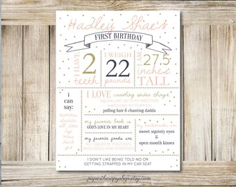 First Birthday Poster, 1st Birthday Poster, Pink and Gold first birthday, Glitter, Dots, Digital download or Print