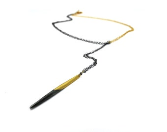 Mixed Metals Necklace. Two Tone Lariat. Ombre Dipped Spike. Quill Necklace in Gold Fill or Sterling Silver NS1970