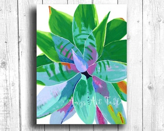 Colorful Succulent Painting Digital download, Printable original art, Digital 8x10 art printable