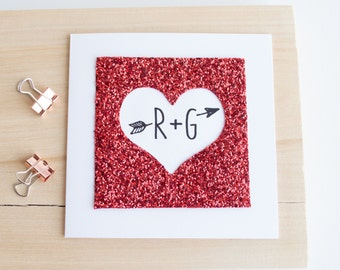 Valentine Card - Giltter heart card - Anniversary card - Custom initials card - Glitter fabric card - Heart and arrow card - Love heart card
