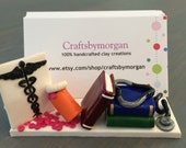 Polymer Clay Doctor / Nurse /Cardiologist Business Card Holder Stand Custom Made