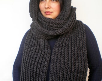 Charcoal  Grey  River  hooded Scarf Hand Knitted  mixed Alpaca Wool Hood Woman Hooded Scarf Fall Winter NEW