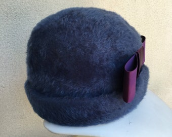 Vintage mid century royal blue fuzzy formal hat purple bow Mystere Betmar