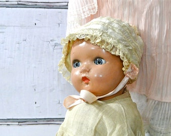 Antique Baby Bonnet French Silk Doll Clothing Hat Ecru Lace Lining / Pale Pink Silk Rosettes Ribbonwork 1910's