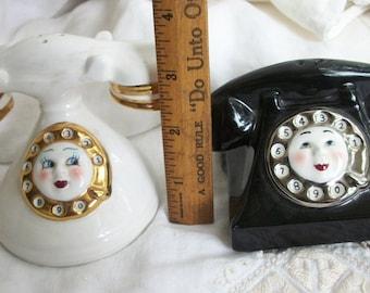 Anthropomorphic Telephone S/P ~ Retro ~ Vintage Salt & Pepper Shaker Set ~ Adorable Faces ~ Rotary Princess Black Cream w Gold Trim