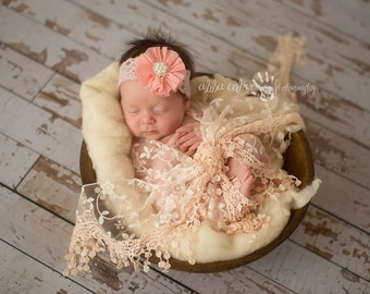 Peach Pink Satin Flower with Rhinestone Center on Elastic Lace Baby Headband Photography Prop