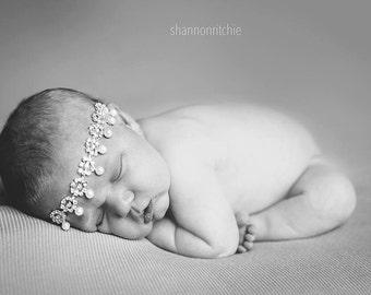 Rhinestone Headband, Baby Headband, Infant Headband- Rhinestone Pearl Baby Headband Photography Prop