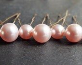 pink pearl hair pins, set of 7,  10mm and 8mm swarovski pearl hair pin, wedding hair, brides brides maid prom